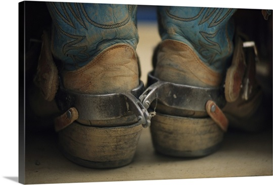 Close up detail of cowboy boots with well-worn spurs Wall Art ...