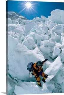 Descent off ice in Nepal, Mount Everest, Khumbu Region, Nepal, Asia
