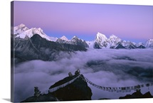 Everest to Taweche, alpenglow from Gokyo Ri, Khumbu, Nepal