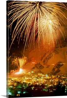 Fireworks over Aspen, Colorado, celebrate the annual ski festival