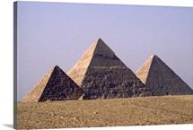 Giza pyramids from left of Pharaohs Menkaure, Khafre and Khufu