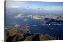Golden Gate Bridge, San Francisco, and bay seen from Marin County