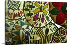 Handwoven baskets, used as plates, with traditional Embera designs