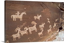 Hunting party petroglyphs at Wolfe Ranch, Arches National Park, Utah