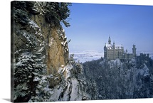 King Ludwig's Schloss Neuschwanstein, in a snowy mountain landscape