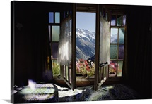 Large windows open to a view of the Bernese Alps, Switzerland