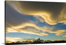 Lenticular and cumulus clouds above Fitzroy Massif in the evening