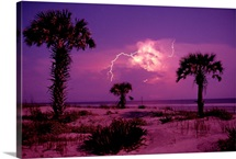 Lightning illuminates the purple sky over Cumberland Island National Seashore in Georgia