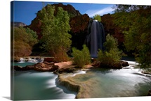 Lit only by the moon, Havasu Falls thunders through the night