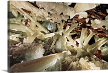 Massive beams of selenite dwarf explorers in the Cave of Crystals