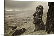 Moai on a hill on Easter Island