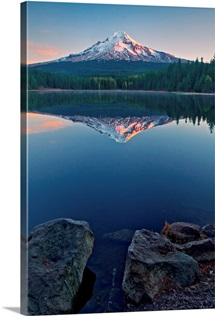 Mount Hood reflected in the calm waters of Trillium Lake