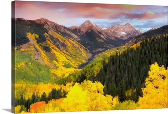Mountainsides covered in colorful aspen trees and evergreens