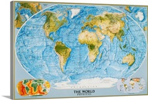National Geographic physical map of the world