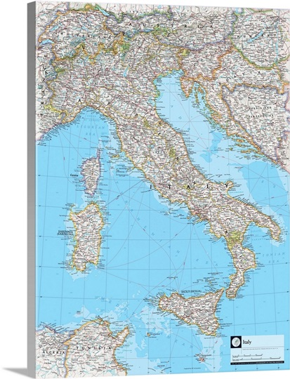 National Geographic Political Map Italy