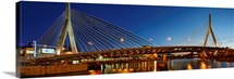 Panorama of the Leonard Zakim Bridge at dusk