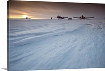 Planes on a runway of hard ice