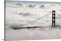 San Francisco's Golden Gate Bridge surrounded by clouds and fog