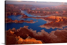 Scenic aerial of Lake Powell and rock formations, Lake Powell, Utah