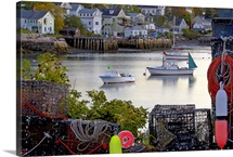 Scenic village, lobster boats, traps and colorful floats