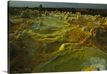 Sulphur, salt and other minerals color the crater of Dallol volcano