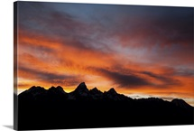 Sunset behind the Teton Range, Grand Teton National Park, Wyoming