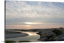 Sunset view of Payne's Creek and ocean on Cape Cod