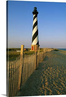 The Cape Hatteras lighthouse with surrounding sand fence