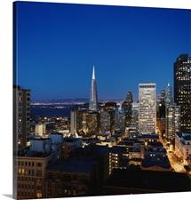 The downtown San Francisco skyline at dusk