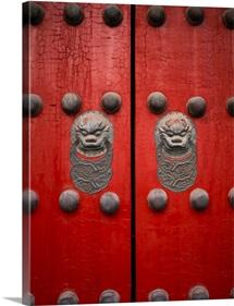 The giant red doors to the Forbidden City in Beijing