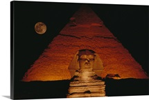 The Great Sphinx and the Chephren Pyramid glow at night