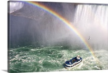 The Maid of the Mist tourist boat under a double rainbow at Niagara Falls