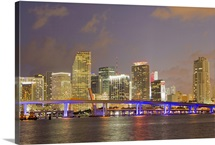 The Miami causeway and skyline at night