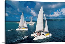 Three catamaran sailboats in Sandy Cay, Tortola