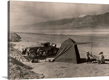 Tourists camp in Death Valley