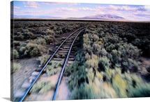 Train tracks through sagebrush, New Mexico, Colorado border
