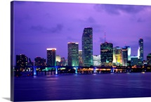 Twilight view of the Miami skyline, Florida