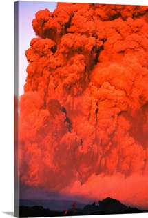 Two people watch mile high red smoke and lava from fissures