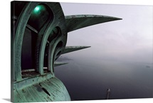 View of New York Harbor from the top of the Statue of Liberty