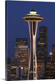 View of the Space Needle and Seattles skyline at night