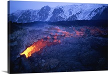 View through a fissure of glowing lava