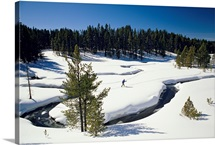 Virginia Creek, with a cross-country skier, Yellowstone National Park, Montana