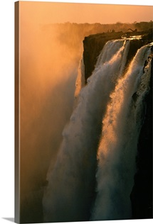 Waterfalls in twilight, Zambezi River, Zambia