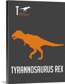 Minimalist Dinosaur Poster - Tyrannosaurus Rex - Orange