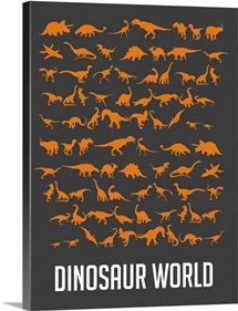 Minimalist Dinosaur World Poster - Orange