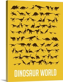 Minimalist Dinosaur World Poster - Yellow