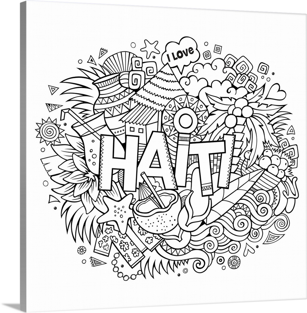 haiti coloring canvas wall art print entitled haiti