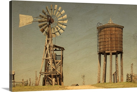 Old West Windmill Photo Canvas Print Great Big Canvas
