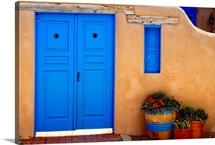 Adobe Walls with Blue Doors, Ranchos De Taos, New Mexico