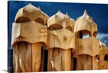 Chimneys of La Pedrera, Barcelona, Catalonia, Spain